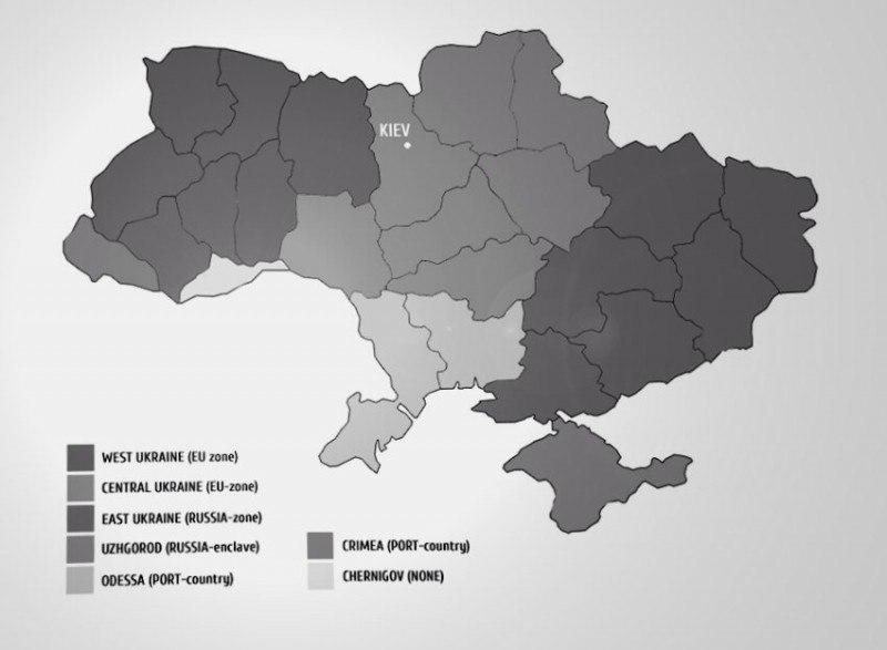 Въпросната карта, която буди съмнение, че наистина съществува план за разделяне на Украйна