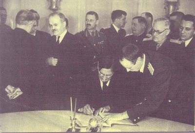 Подписване на примирието със СССР, САЩ и Великобритания, Москва, 28 октомври 1944 г.