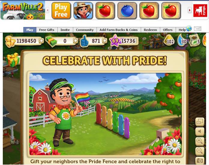 """Реклама на гей-парадите в играта """"Farm Ville 2"""" А повечето играчи са деца..."""