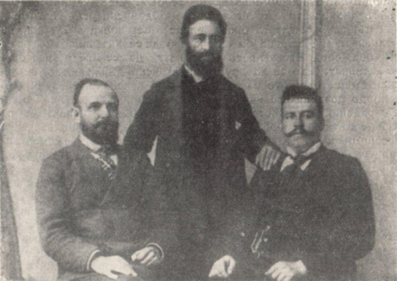 Гоце Делчев и неговите другари и съратници Гьорче Петров и Никола Малешевски в (средата)